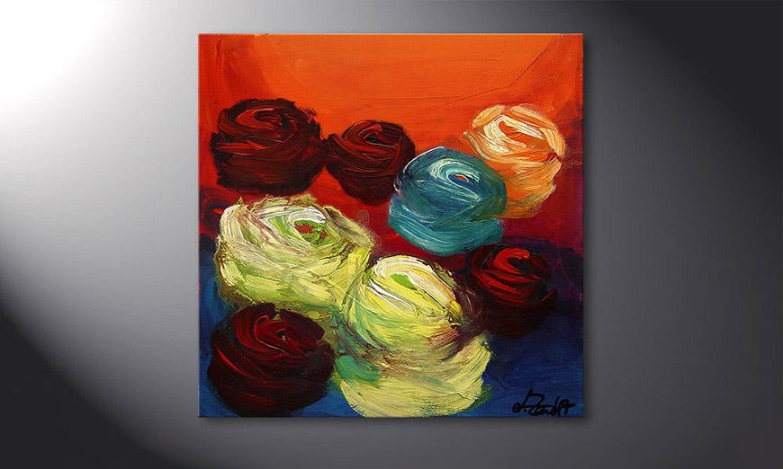 Colors of Roses 70x70x2cm Schilderij