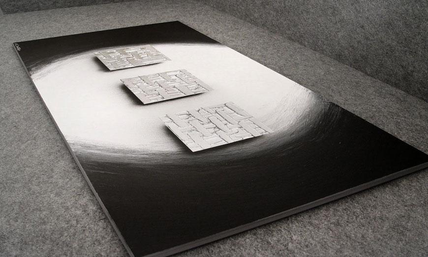 De XXL-schilderij Cubes of Silver 140x70x2cm