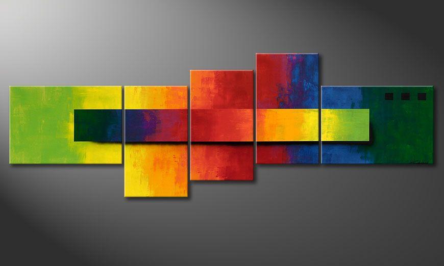 De XXL-schilderij Facets of a Rainbow 260x90x2cm