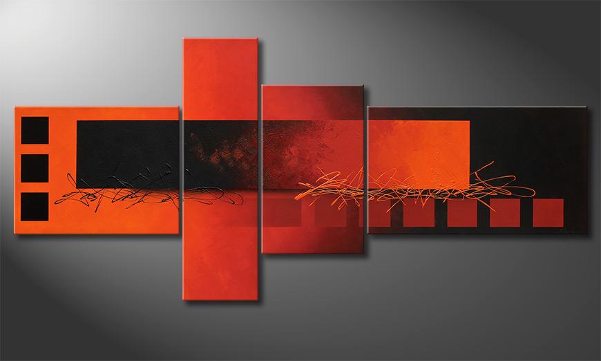 De XXL-schilderij Fiery Emotions 220x100x2cm