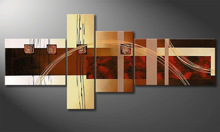 De XXL-schilderij Golden Ways 220x100x2cm