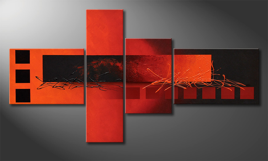 De exclusief schilderij Fiery Emotions 130x70x2cm