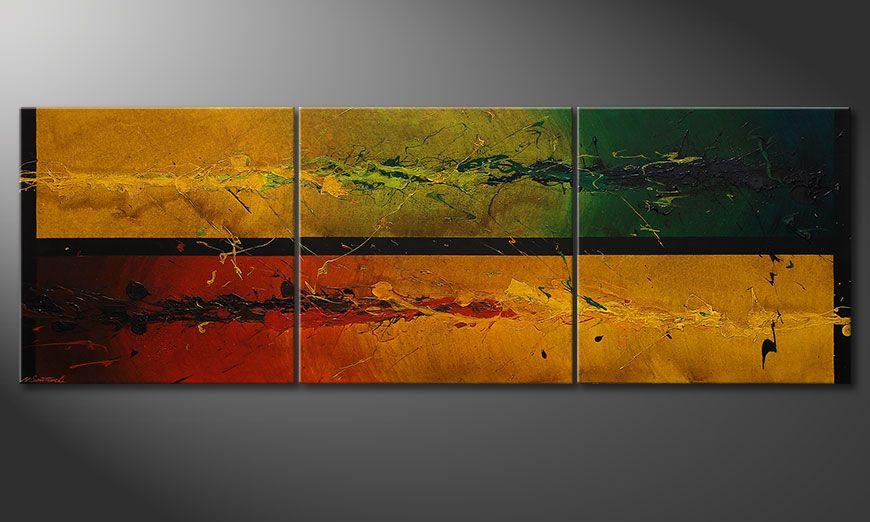 De grote schilderij Blowing Elements 240x80x2cm
