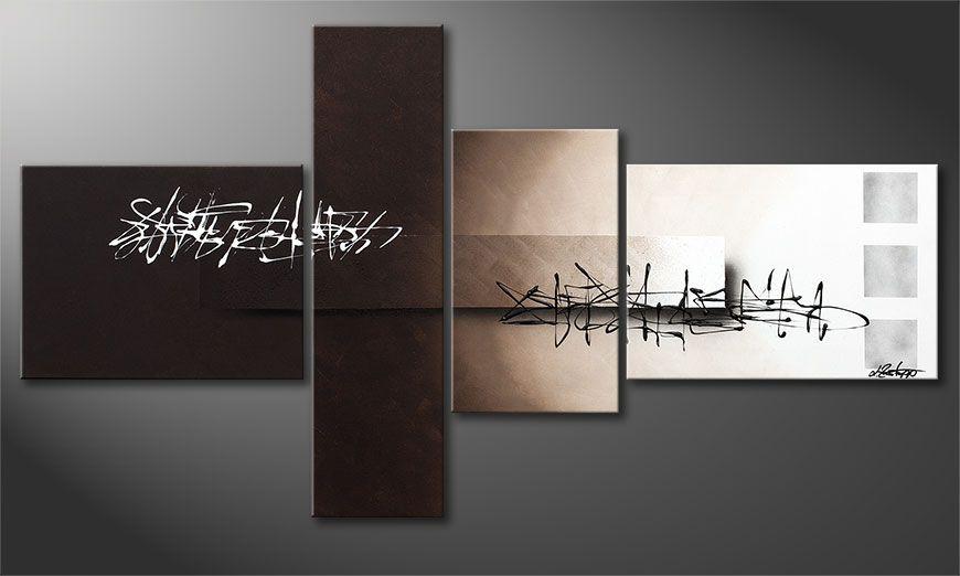 De kleine schilderij Between Night & Day 130x70x2cm