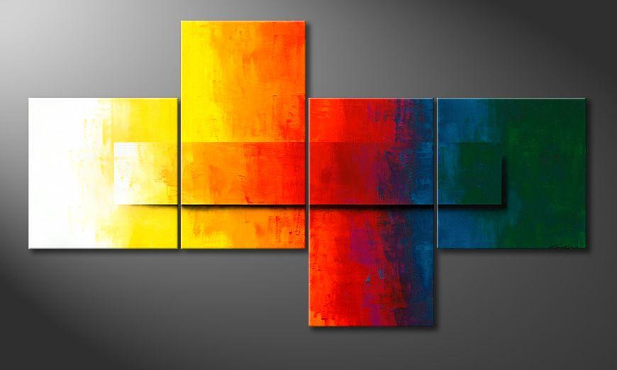 De moderne XXL-schilderij Rainbow Colors 220x120x2cm