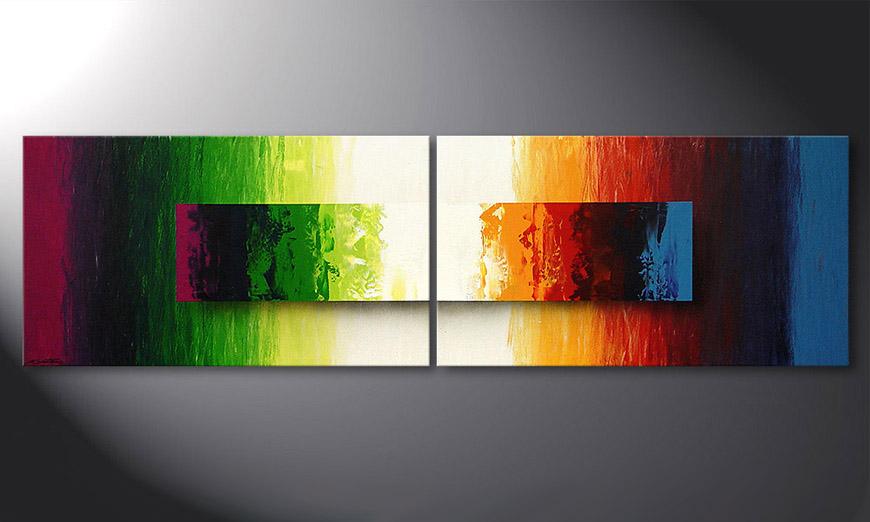 De moderne schilderij Battle of Colours 200x60x2cm