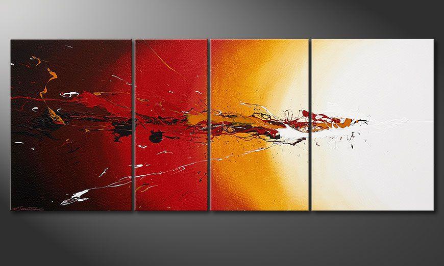 De moderne schilderij Fiery Splash 170x70x2cm