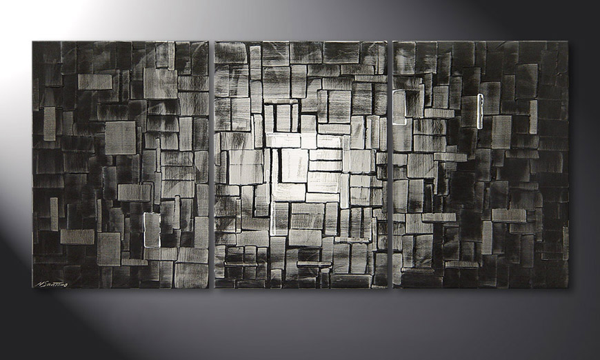 De moderne schilderij Moon Cubes 150x70x2cm