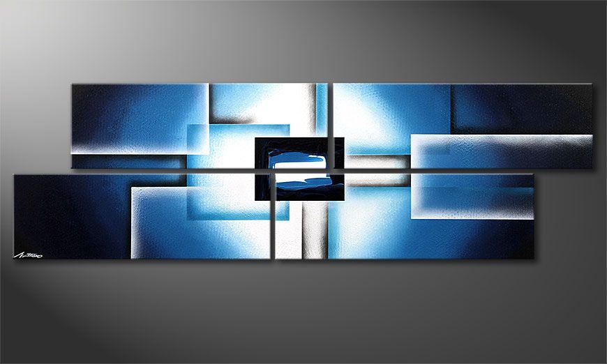 De moderne schilderij Polar Glow 200x60x2cm