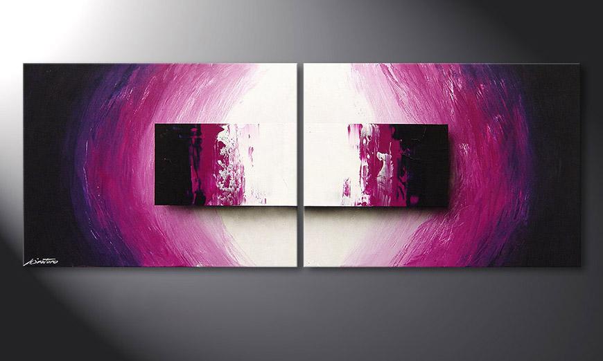 De moderne schilderij Purple Rain 160x60x2cm