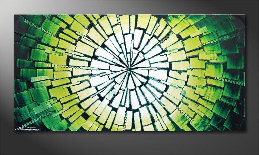 De prachtige schilderij Center of Jungle 100x50x2cm
