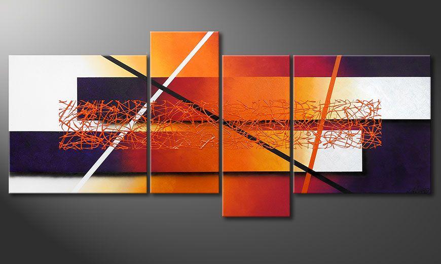 De schilderij Afterglowing Memories 180x80x2cm
