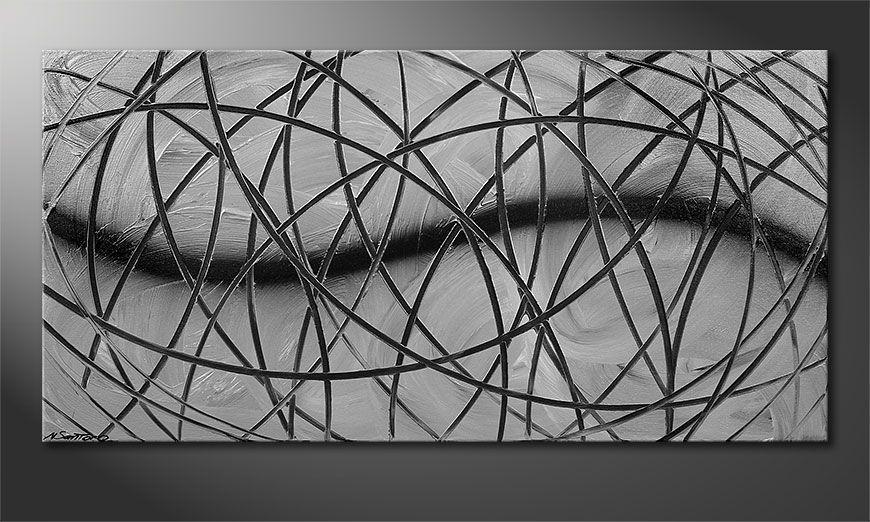 De schilderij Broken White 120x60x2cm