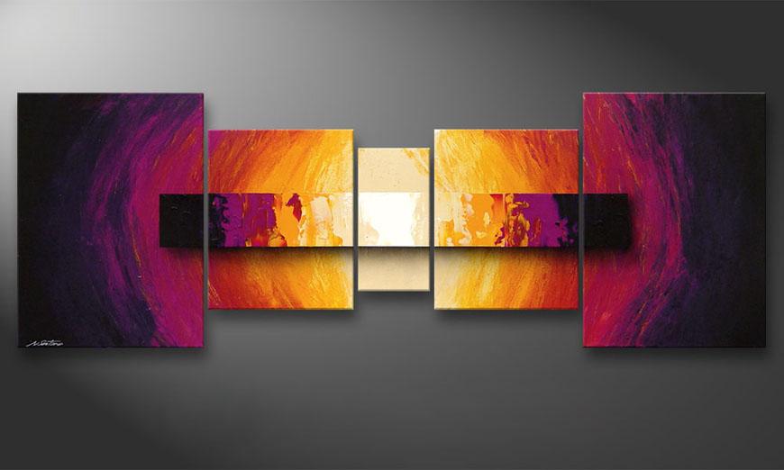 De schilderij Catched Afterglow 200x70x2cm