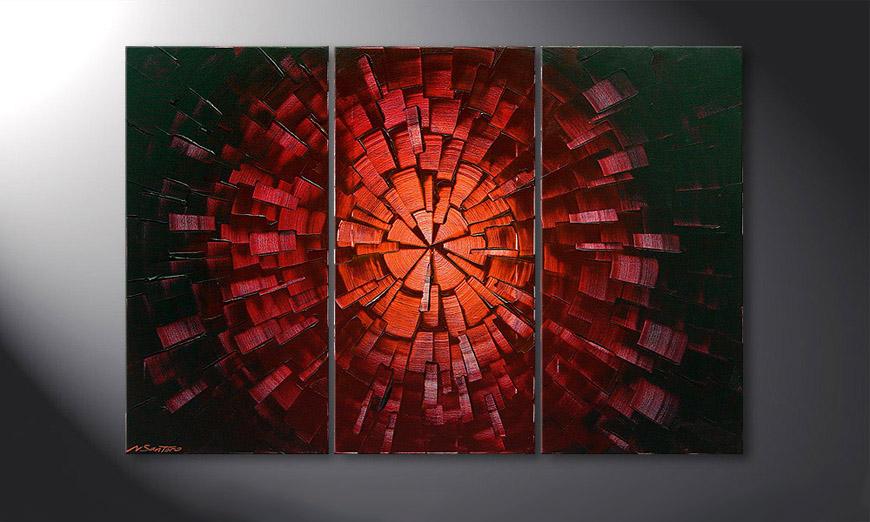 De schilderij Center of Glow 120x80x2cm