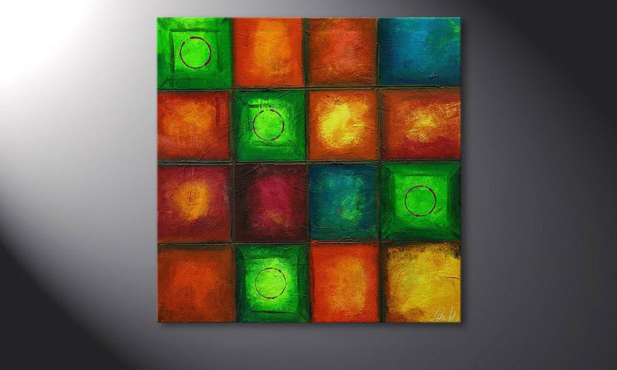 De schilderij Colorful Cubes 80x80x2cm