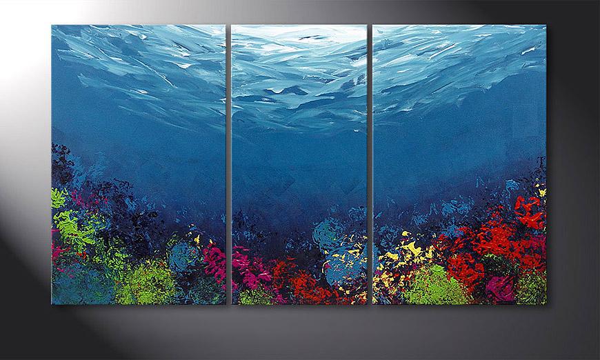 De schilderij Coral Garden 140x80x2cm