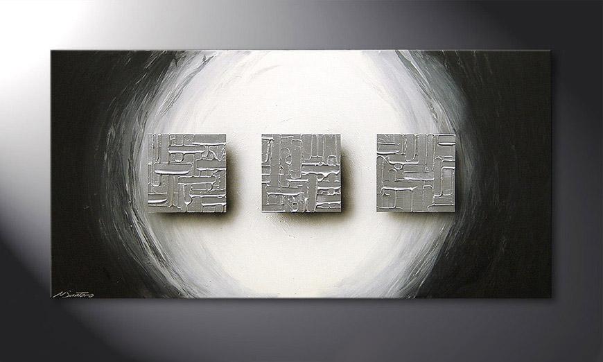 De schilderij Cubes of Silver 120x60x2cm