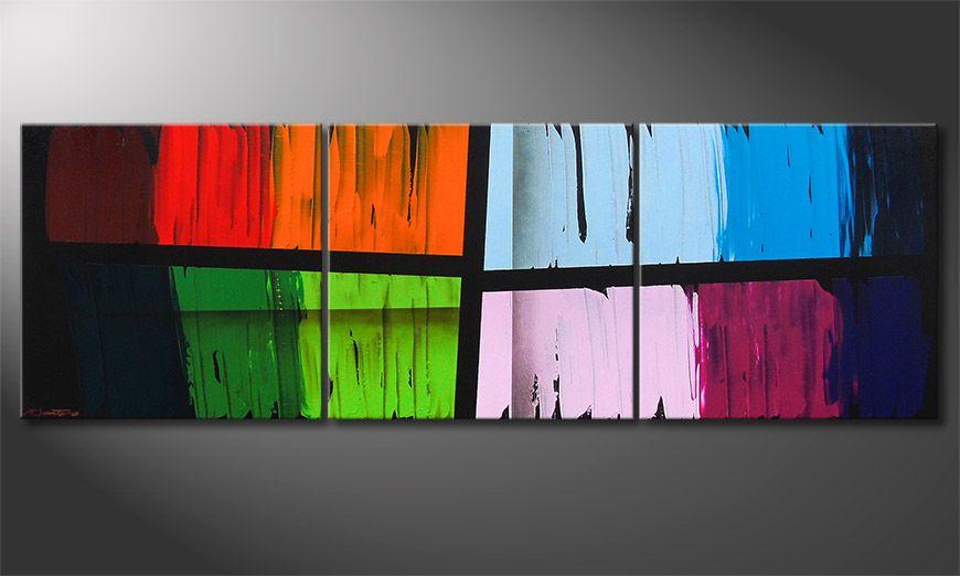 De schilderij Disparate Impact 210x70x2cm