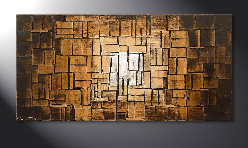 De schilderij Earth Cubes 120x60x2cm