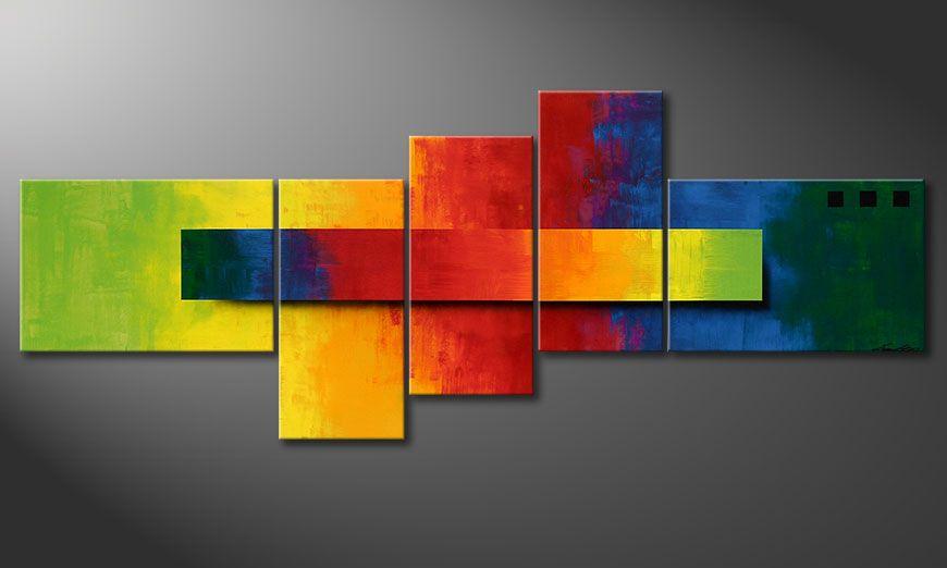 De schilderij Facets of a Rainbow 210x80x2cm