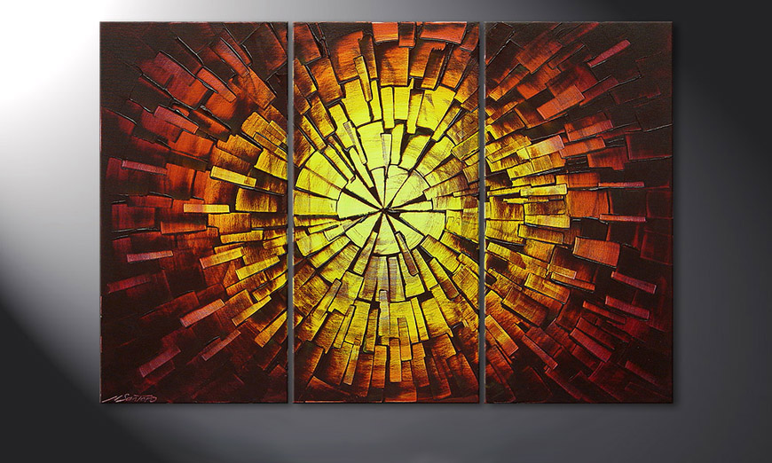 De schilderij Fiery Explosion 120x80x2cm