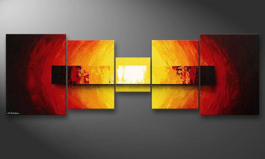 De schilderij Fire Bloc 210x70x2cm