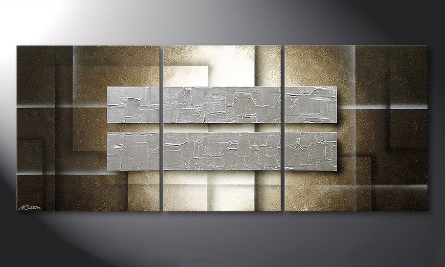 De schilderij Frozen Blocs 170x70x2cm