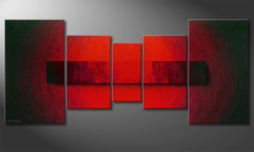 De schilderij Glowing Bloc 160x70x2cm