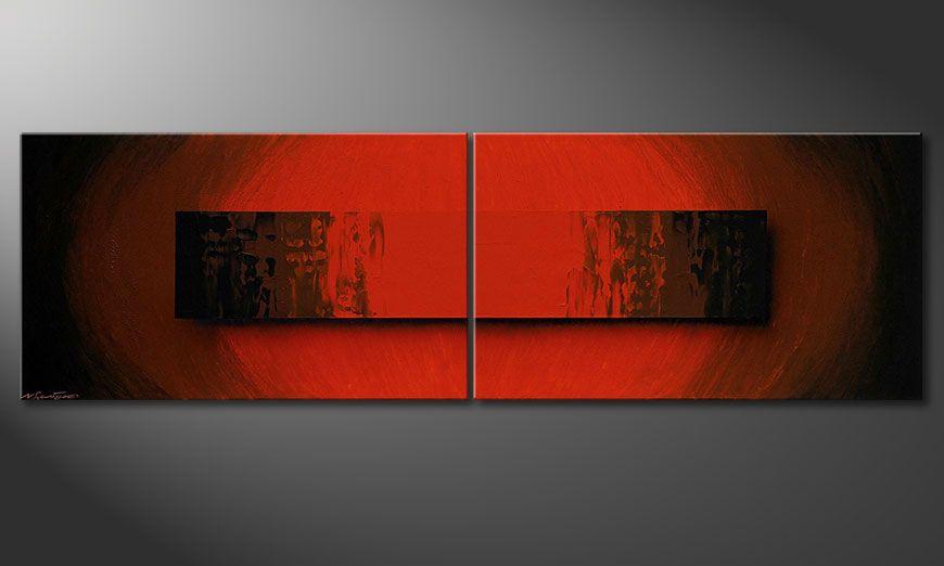 De schilderij Glowing Red 200x60x2cm