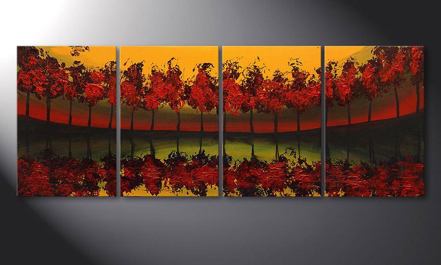 De schilderij Glowing Sky 160x60x2cm