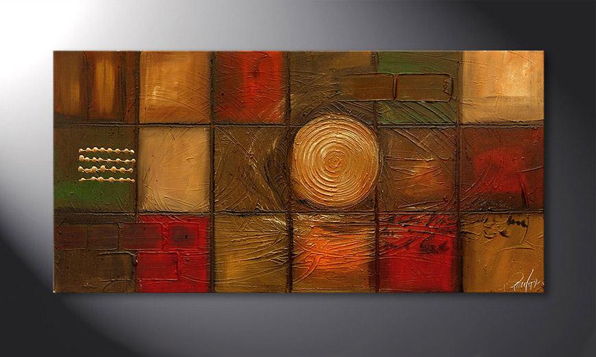 De schilderij Golden Center 120x60x2cm