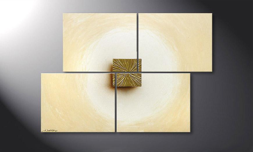 De schilderij Golden Cube 115x80x2cm