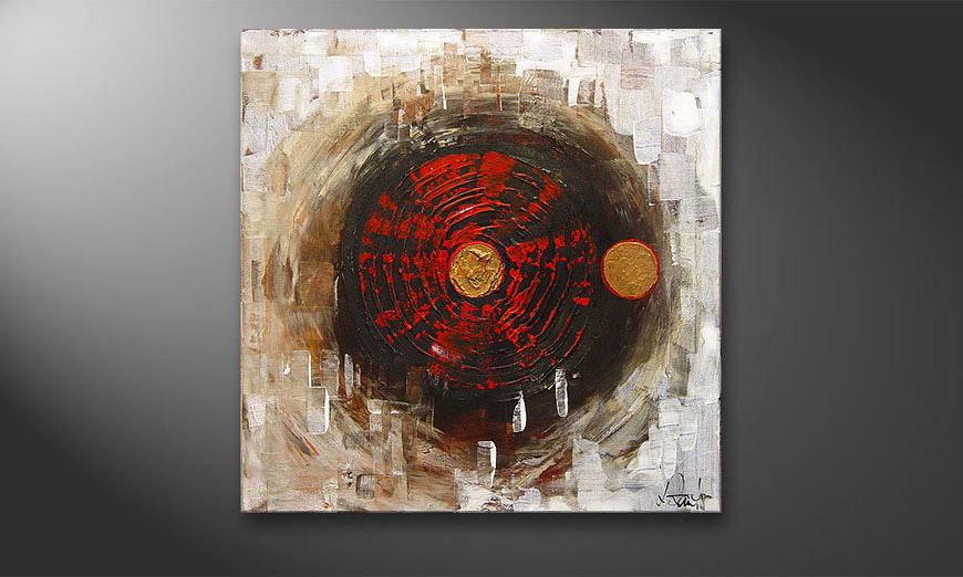 De schilderij Golden Middle 70x70x2cm