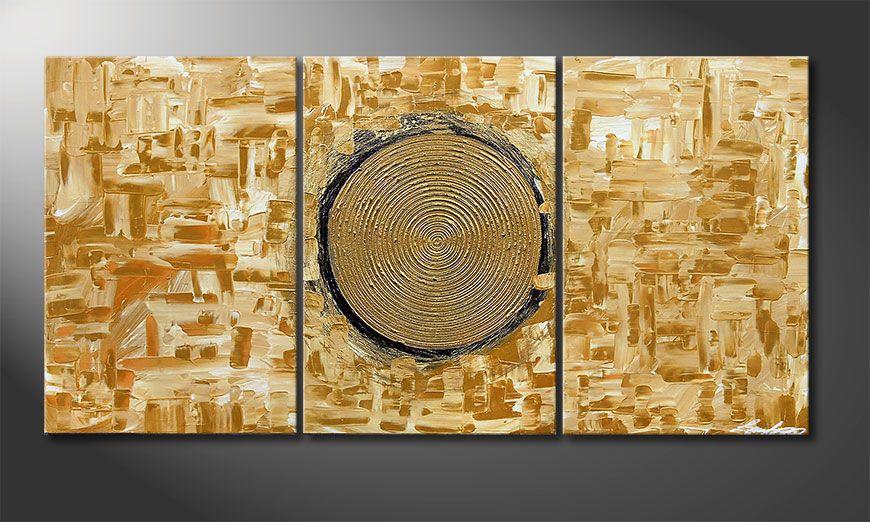De schilderij Golden Sun 120x60x2cm