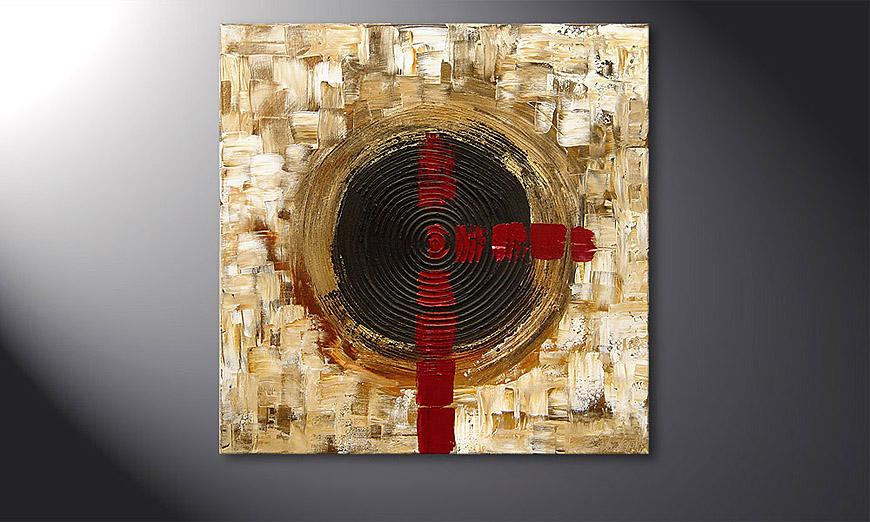 De schilderij Golden Times 80x80x2cm