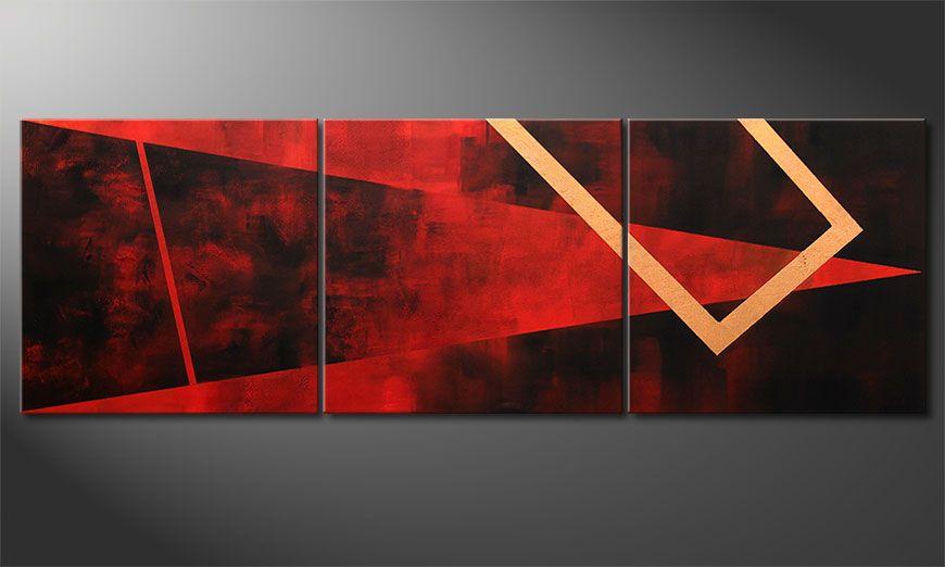 De schilderij Golden Vision 210x70x2cm