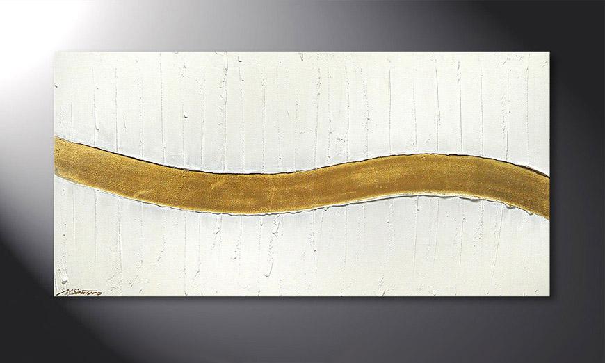 De schilderij Golden Wave 120x60x2cm