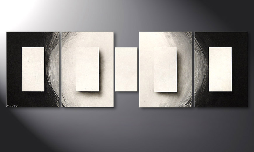 De schilderij Illuminated Cubes 220x70x2cm