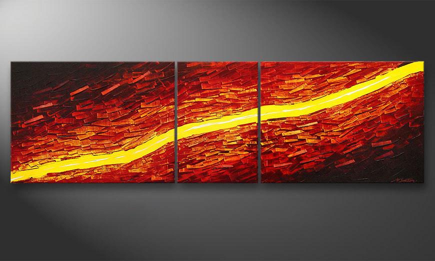 De schilderij Lava Stream 200x60x2cm