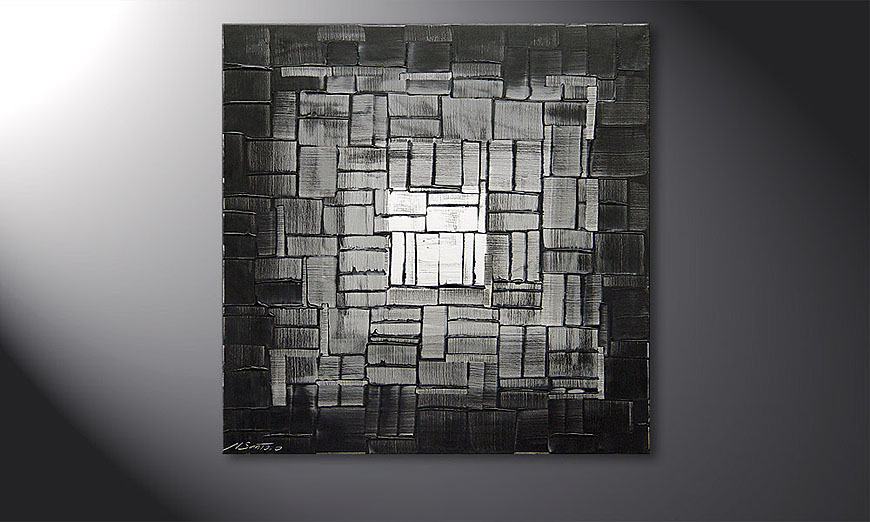 De schilderij Light Cube  80x80x2cm