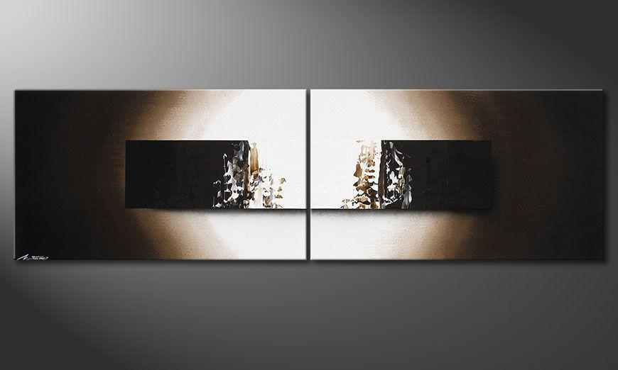 De schilderij Light Rain 200x60x2cm