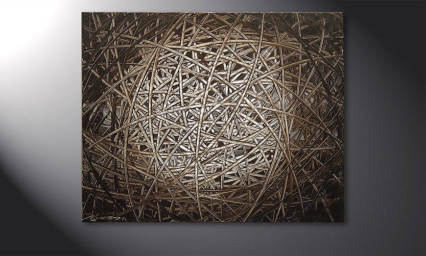 De schilderij Moon Stripes 100x80x2cm