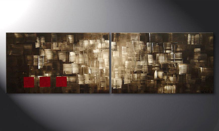 De schilderij Play of Light 200x60x2cm