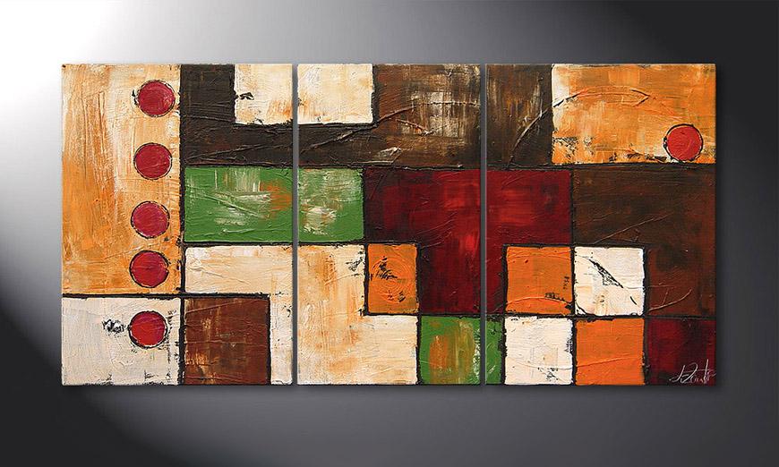 De schilderij Playful Earth 140x70x2cm