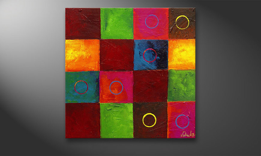 De schilderij Playful Potpourri 80x80x2cm
