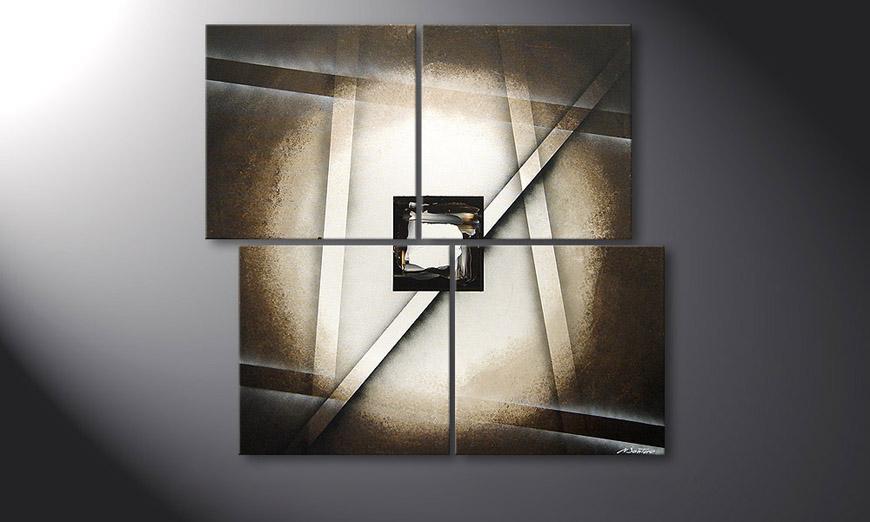 De schilderij Playful Shadows 110x100x2cm