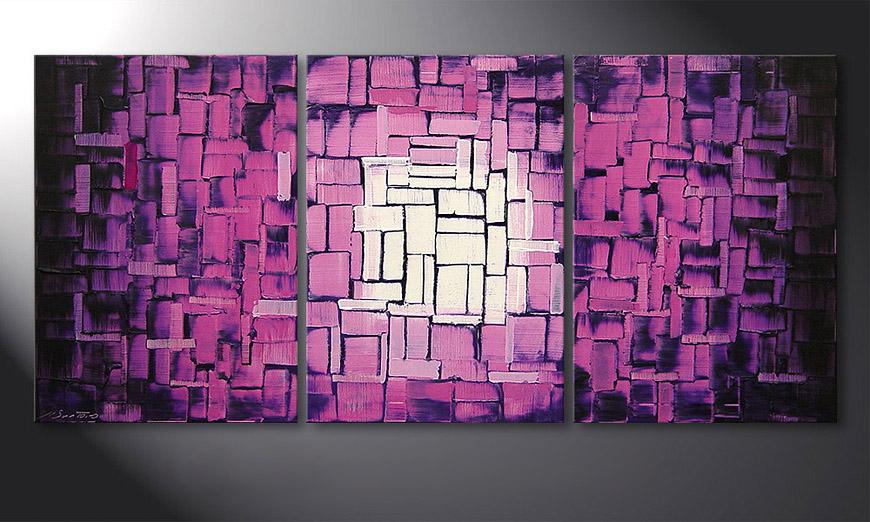 De schilderij Purple Afterglow 150x70x2cm
