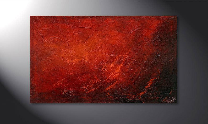 De schilderij Red 100x60x2cm