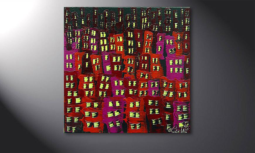 De schilderij Red City 50x50x2cm